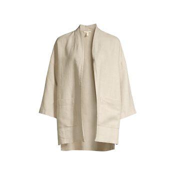 Льняная куртка с открытой передней частью Eileen Fisher