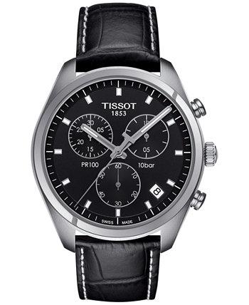 Мужские швейцарские часы с хронографом Tissto PR 100 с черным кожаным ремешком 41 мм T1014171605100 Tissot