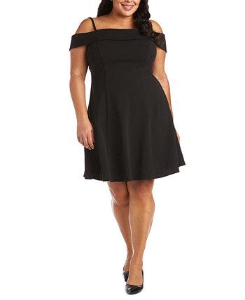 Модное платье больших размеров с открытыми плечами и расклешенными рукавами Morgan & Company