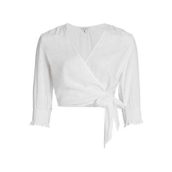 Укороченная блуза из смесового льна Raquel Rails