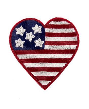 Вышитый бисером флаг Сердце Подвеска THIRSTYSTONE