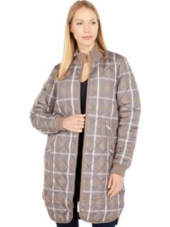Art Long A-Line Quilted Plaid Jacket w/ Knit Trim Ilse Jacobsen