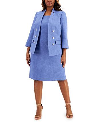 Plus Size Pinstripe Faux-Double-Breasted Dress Suit Le Suit