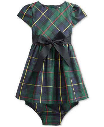 Расклешенное платье из тафты в клетку для маленьких девочек и шаровары Ralph Lauren