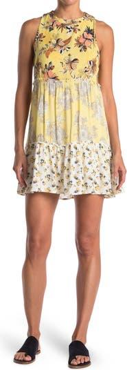 Многоярусное платье прямого кроя с комбинированным принтом без рукавов THREADS AND STATES