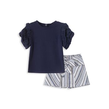 Двухкомпонентный плиссированный топ для девочки и amp; Комплект шорт Habitual
