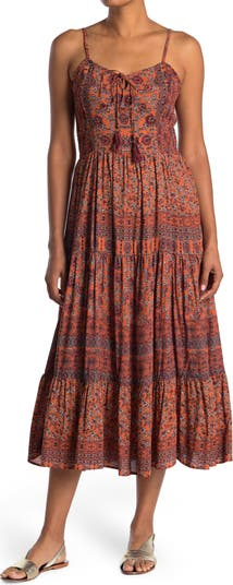 Tie Back Patterned Tiered Dress Angie