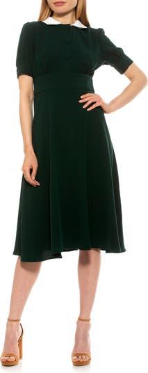 Printed Spread Collar Midi Dress ALEXIA ADMOR