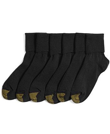 Женские носки с манжетами Turn Cuff, 6 пар, также доступны в расширенных размерах Gold Toe