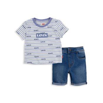 Baby Boy's Short Sleeve T-Shirt & Denim Shorts Set Levi's®