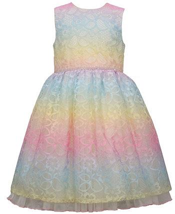 Радужное кружевное платье Dirndl для маленьких девочек с блестящей отделкой на талии Bonnie Jean