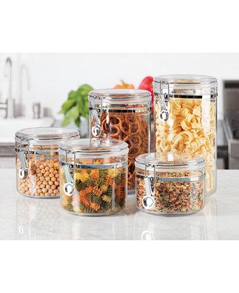 Акриловые канистры для хранения пищевых продуктов с зажимной крышкой, набор из 5 шт. Oggi
