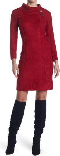 Вязаное платье-свитер с разрезом и воротником-хомутом Sandra Darren