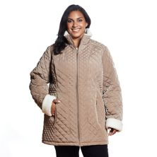 Plus Size Gallery Sherpa-Trim Quilted Jacket Gallery