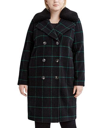 Пальто большого размера с воротником из искусственного меха в клетку, созданное для Macy's Tahari