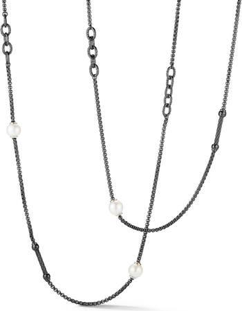 Ожерелье-цепочка из нержавеющей стали с черным кабелем и пресноводным пилингом ALOR