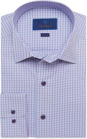 Текстурированная классическая рубашка в клетку с отделкой и отделкой David Donahue