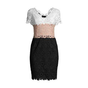 Кружевное платье с цветными блоками и V-образным вырезом SHANI