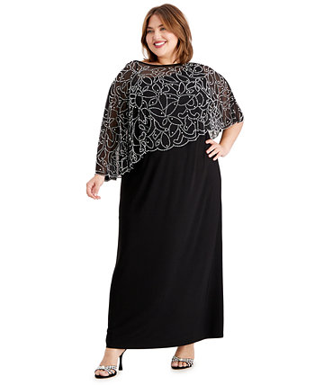 Платье-накидка больших размеров с вышивкой из бисера MSK