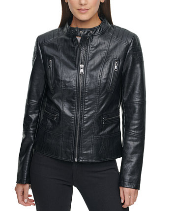 Faux-Leather Moto Coat Kenneth Cole