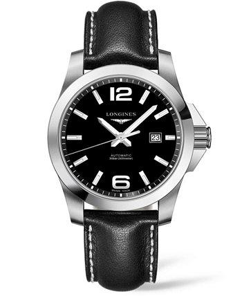 Мужские швейцарские автоматические часы HydroConquest с черным кожаным ремешком 43 мм Longines