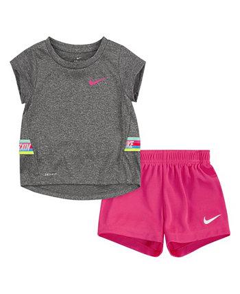 Комплект футболки и шорт из 2 предметов Little Girls с тесьмой Nike