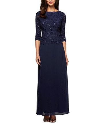 Кружевное платье с блестками Alex Evenings