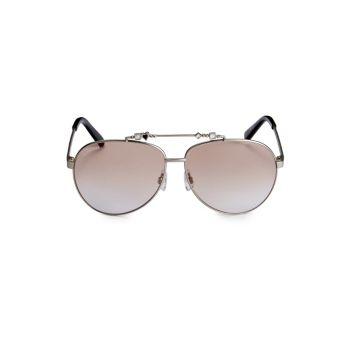 Солнцезащитные очки-авиаторы 63 мм с украшением DSQUARED2