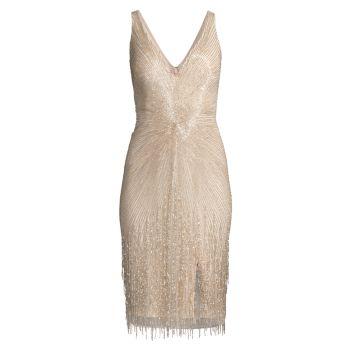 Коктейльное платье с V-образным вырезом и бисером Aidan Mattox