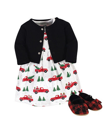Новогоднее платье для маленьких девочек, кардиган и набор обуви, набор из 3 шт. Hudson Baby