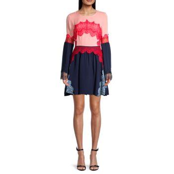 Шелковое платье с кружевной аппликацией Tanya Taylor