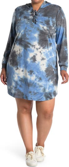 Lace-Up Hoodie Sweater Dress BLUE ORCHID