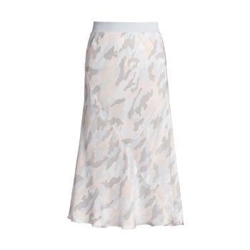 Шелковая юбка-миди с камуфляжным принтом ATM Anthony Thomas Melillo