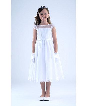 Платье для причастия с короткими рукавами и короткими рукавами для больших девочек Us Angels