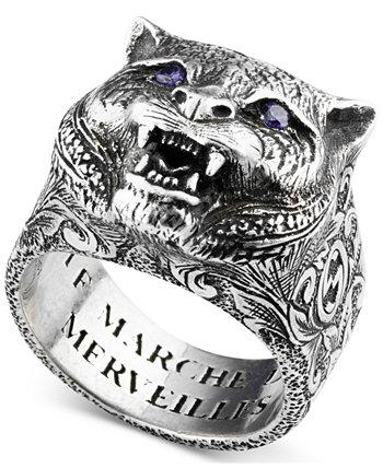 Мужское кольцо на голову кошки с хрустальным глазом из стерлингового серебра GUCCI
