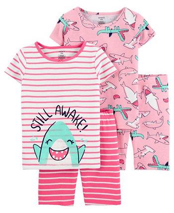 Хлопковые пижамы Little Girls Shark, 4 шт. Carter's