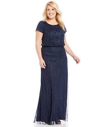 Платье большого размера с бусинами и иллюзией Adrianna Papell