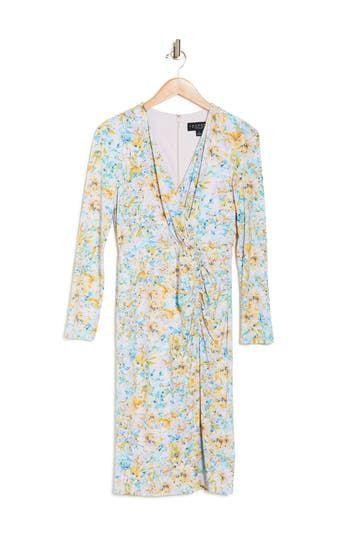 Платье с V-образным вырезом и присборенным цветочным принтом Laundry by Shelli Segal