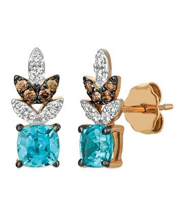 Серьги Blue Zircon (1 1/5 карата), Nude Diamonds ™ (1/6 карата) и Chocolate Diamonds® (1/10 карата) из розового золота 14 карат. Le Vian