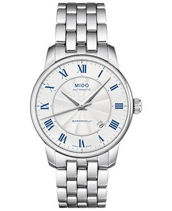 Мужские швейцарские автоматические часы-браслет из нержавеющей стали Baroncelli, 38 мм MIDO