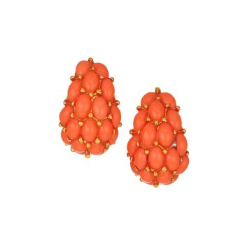 Coral-Color Cabochon Cluster Clip-On Earrings Kenneth Jay Lane