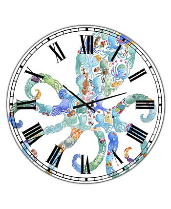 """Octopus Made of Octopus Большие морские и прибрежные настенные часы - 36 """"x 28"""" x 1 """" Designart"""