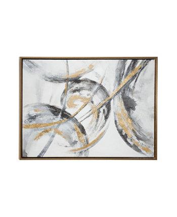 Большой металл и картина современного абстрактного искусства в металлической деревянной раме CosmoLiving