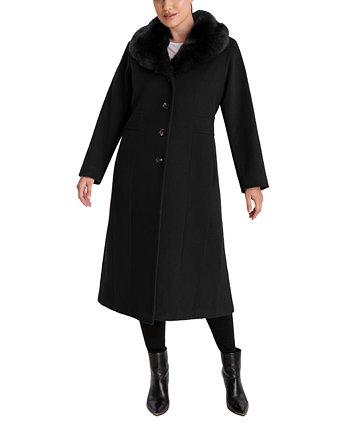 Plus Size Faux-Fur-Collar Maxi Coat Anne Klein