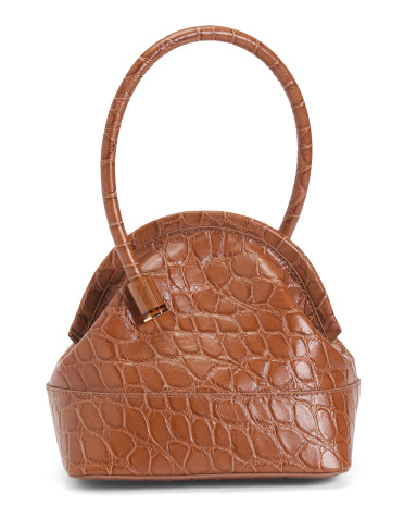Isel Croco Embossed Leather Satchel With Novelty Handle Louise et Cie