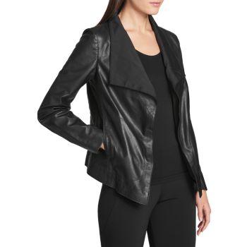 Кожаная куртка с открытой передней частью Donna Karan