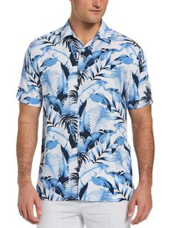 Рубашка Bg с короткими рукавами и тропическим принтом из 100% вискозы Cubavera