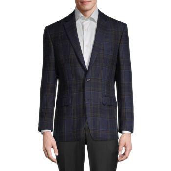 Regular-Fit Windowpane Plaid Wool-Blend Jacket LAUREN Ralph Lauren