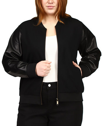 Plus Size Faux Leather Sleeve Jacket Michael Kors