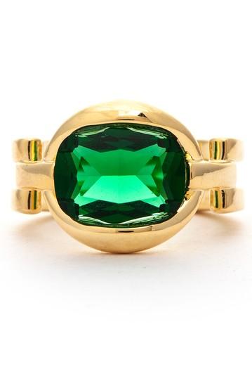 Эффектное кольцо с овальными кристаллами из 18-каратного золота - Размер 7 Rivka Friedman